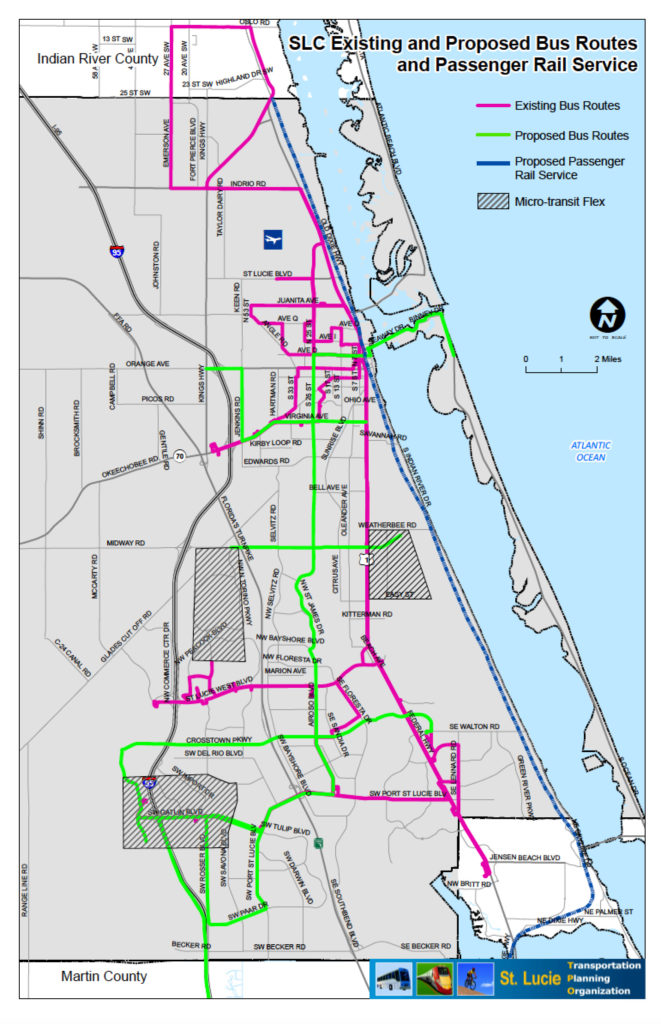 Transit Routes existing and proposed